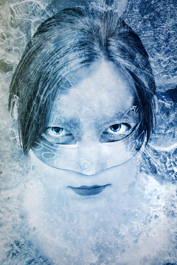 Frozen. Fantasy portrait of a beautiful masked woman royalty free illustration