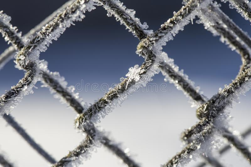 Frozen fence made of metal mesh covered with frost crystals, an royalty free stock photos