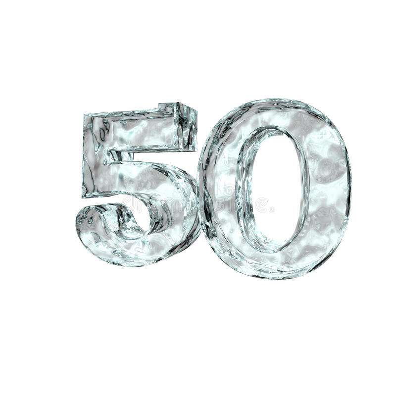 Frozen fifty. Frozen number fifty - 50 - on white background - 3d illustration royalty free illustration