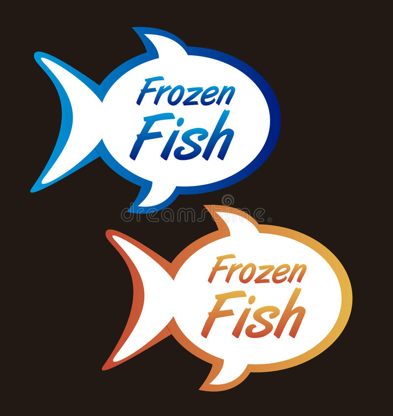 Frozen fish tags. Isolated over black background. vector stock illustration