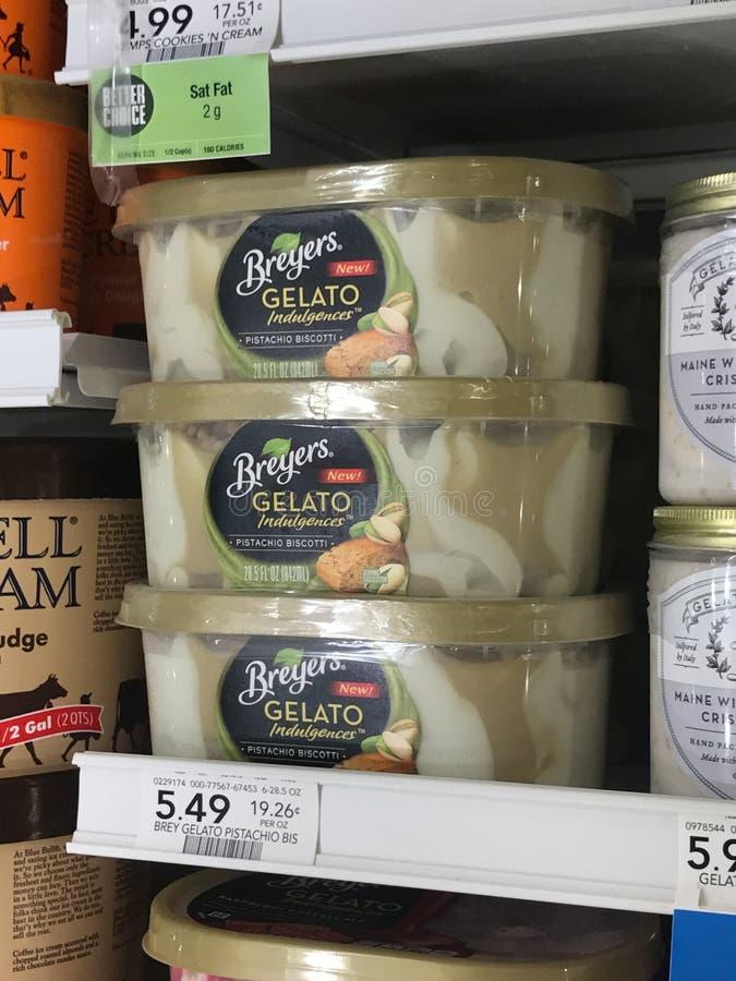 Frozen Ice Cream Sundae`s in Grocery Store Freezer stock photography