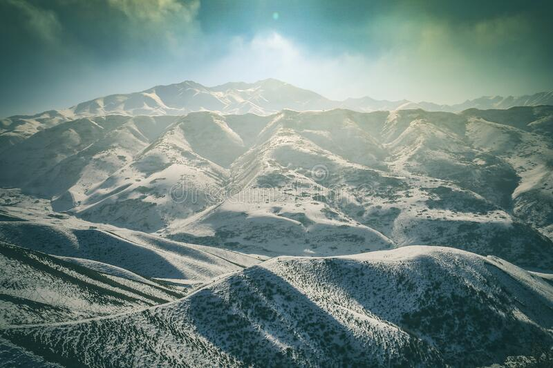 Frozen forest and mountains royalty free stock image