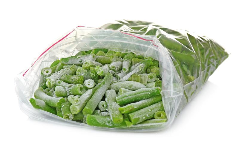 Frozen French beans on background stock photo