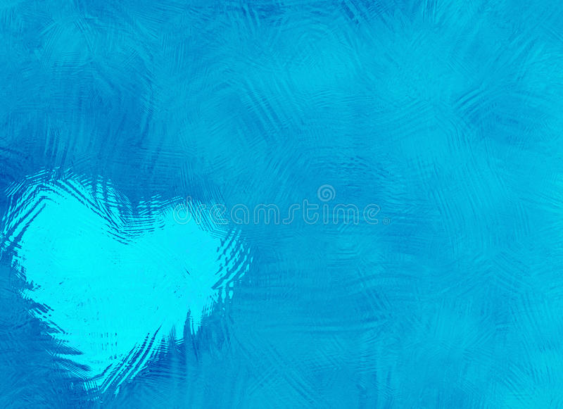 Frozen glass abstract winter texture with heart. Blue Frozen glass abstract winter texture with heart royalty free stock image