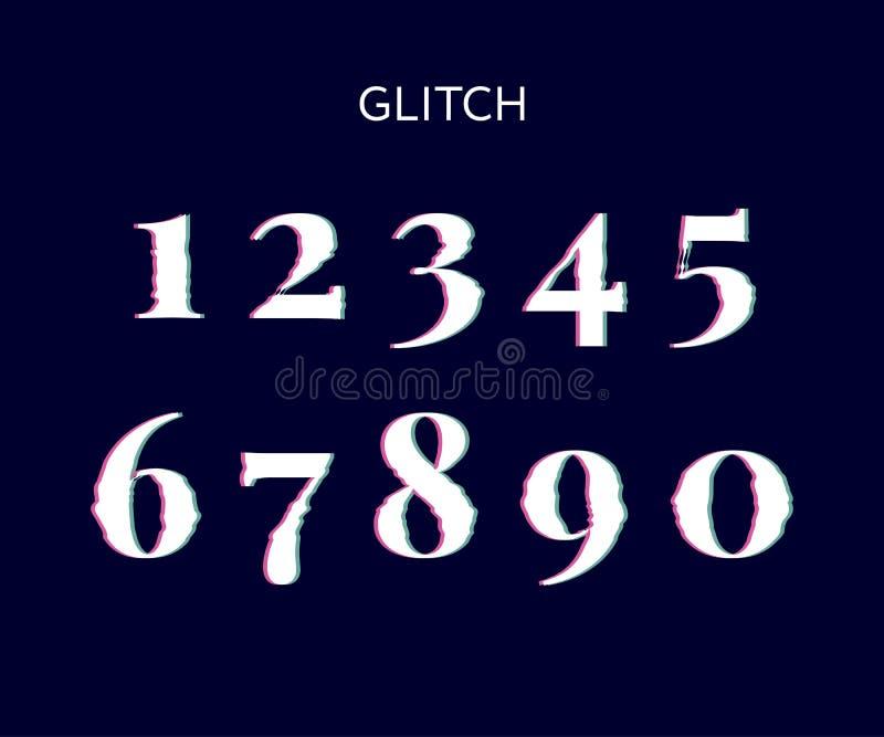 Frozen glitch screen distortion vector numbers black vector illustration