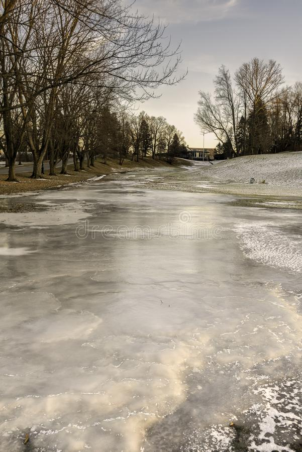 Frozen Golf Field royalty free stock photography