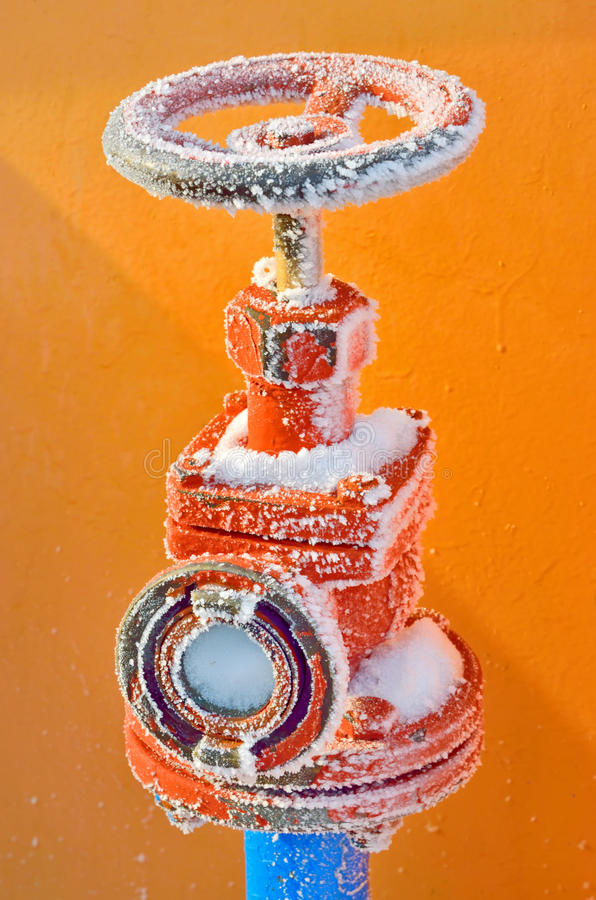 Frozen hydrant stock photography