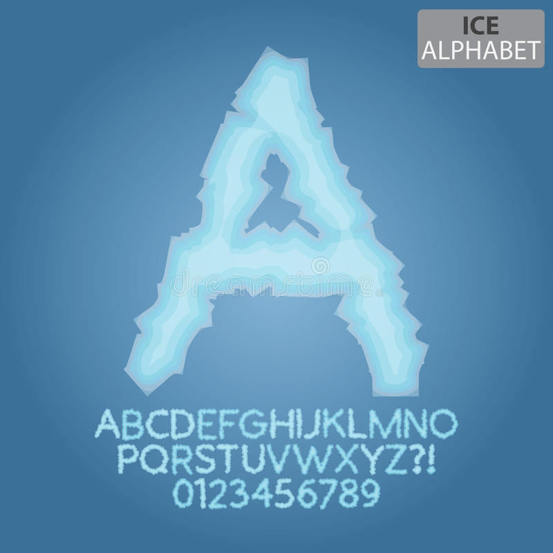 Frozen Ice Alphabet and Numbers Vector stock illustration