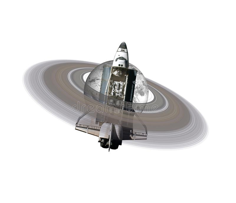 Frozen in Ice Earth planet with saturn ring near space shuttle royalty free stock images