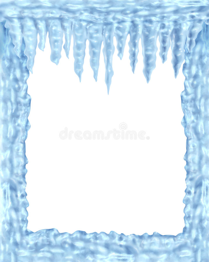Frozen ice and icicles frame royalty free illustration