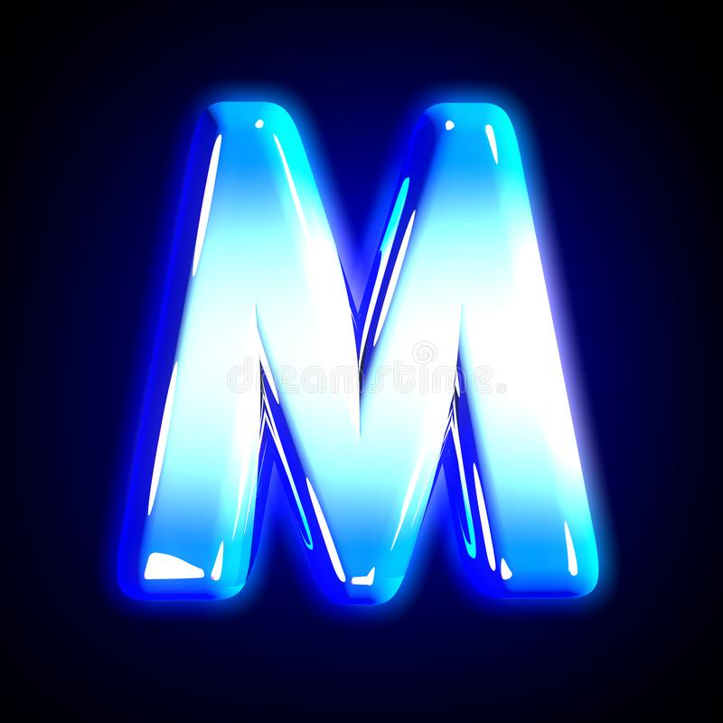 Frozen ice letter M of glow festive blue shine font isolated on black - 3D illustration of symbols. Blue frosty snow creative glowing alphabet - letter M vector illustration
