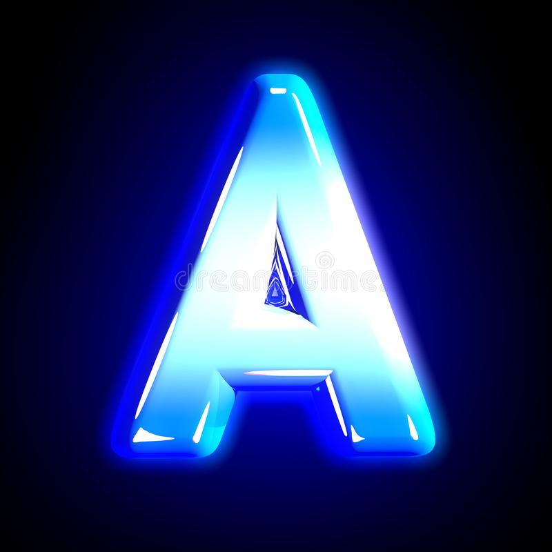 Frozen ice letter A of shine festive blue glossy alphabet isolated on black - 3D illustration of symbols. Blue frosty snow design glowing font - letter A royalty free illustration