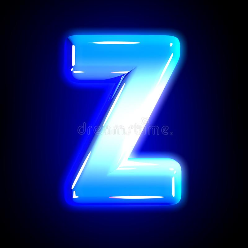 Frozen ice letter Z of shining festive blue polished font isolated on black - 3D illustration of symbols. Blue frosty snow creative shine font - letter Z royalty free illustration