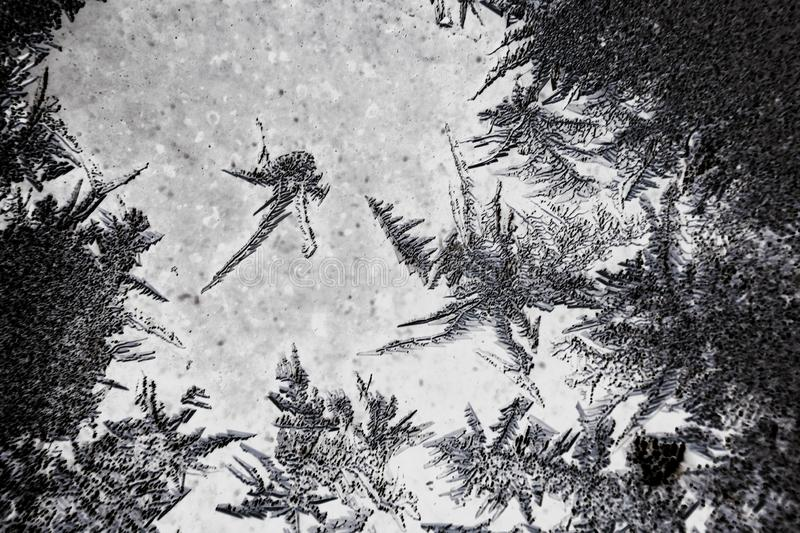 Frozen iced background. Ice pattern on the glass. Macro frost turn into negative black white photo stock photography