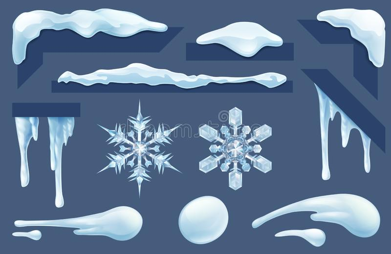 Frozen Icicles Ice and Snow Winter Design Elements royalty free illustration