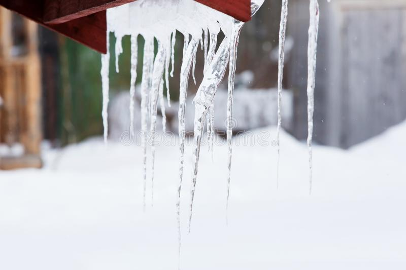 Frozen icy down pipe. Icicles royalty free stock images