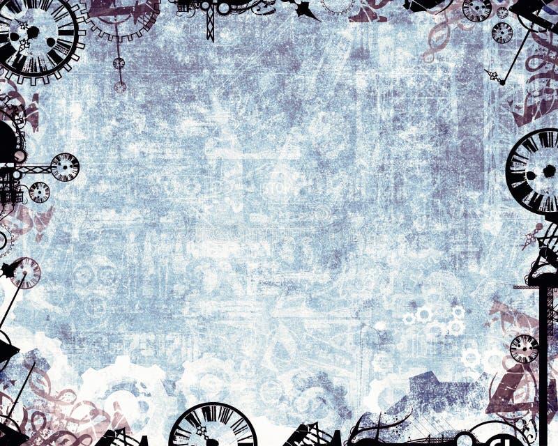 Frozen industrial factory clocks background vector illustration