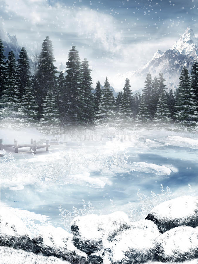 Download Frozen lake stock illustration. Illustration of snow - 16870810