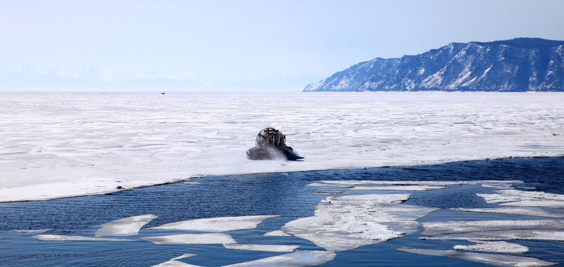 Frozen Lake Baikal royalty free stock photography