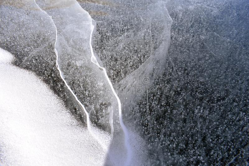 Frozen lake ice formation closeup royalty free stock images