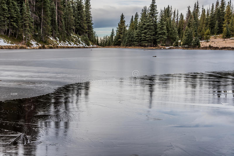 Frozen Lake. Lake Irene frozen over in Rocky Mountain National Park royalty free stock image