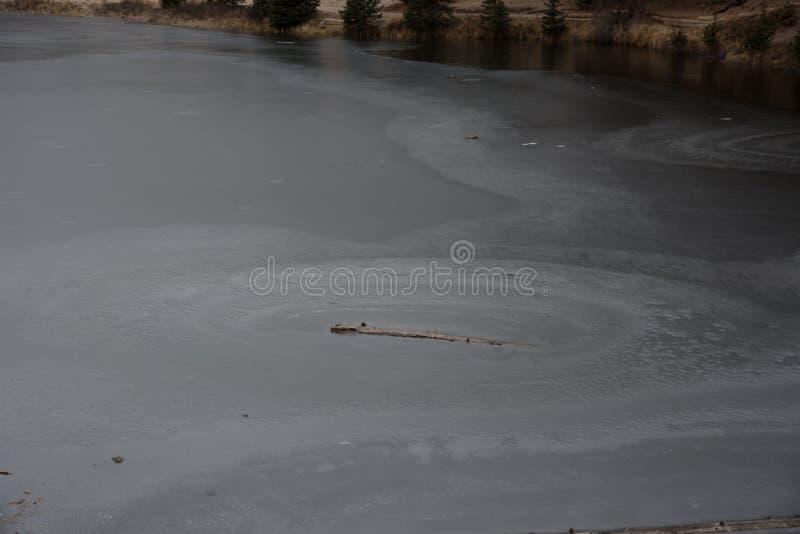 Frozen Lake. Lake Irene frozen over in Rocky Mountain National Park royalty free stock photo