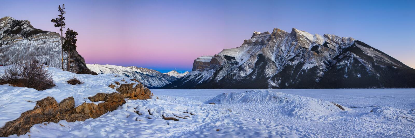 Frozen Lake Minnewanka in Banff National Park, Alberta stock image