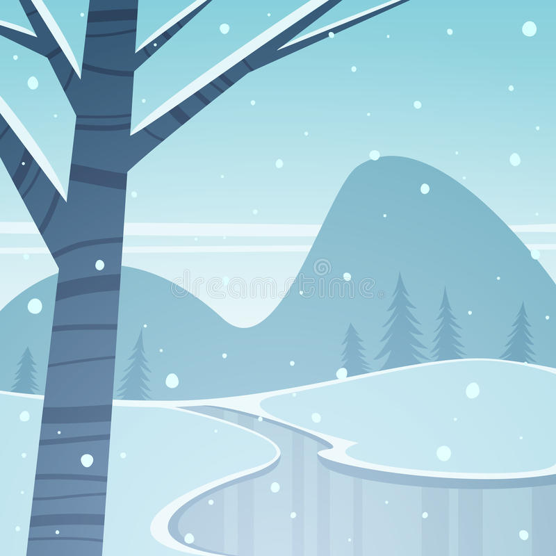 Frozen Lake. Mountain winter landscape with frozen lake, cartoon vector illustration stock illustration
