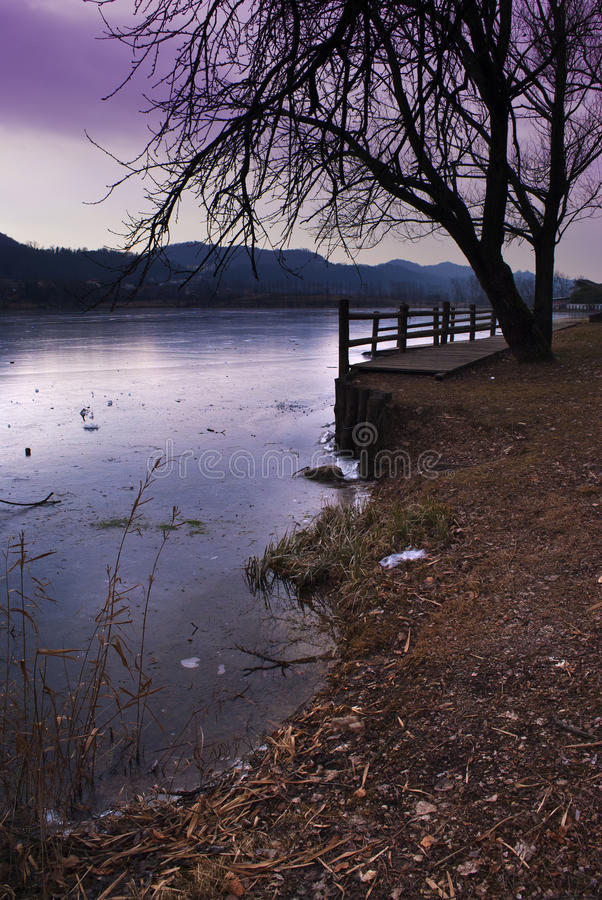 Download Frozen Lake At Sunset Stock Images - Image: 23413884