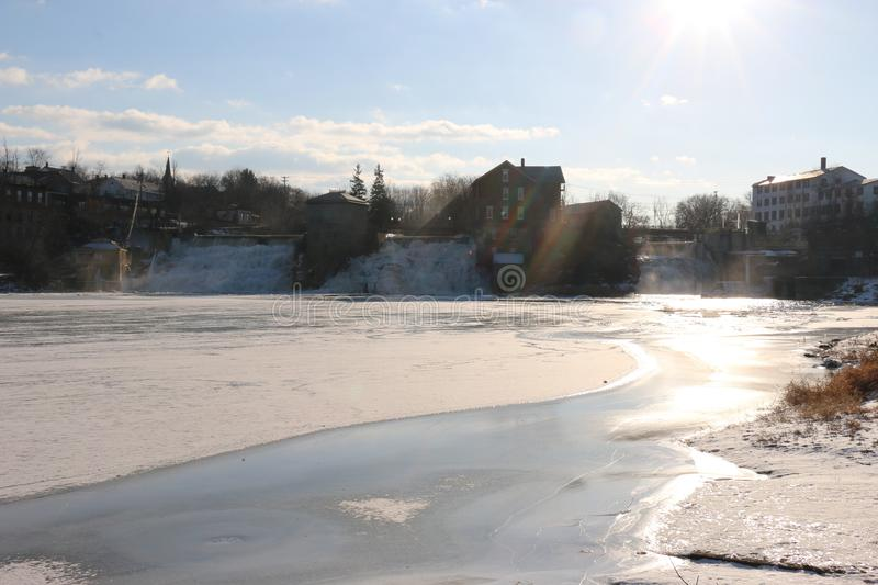 Frozen lake in vermont water district stock photos