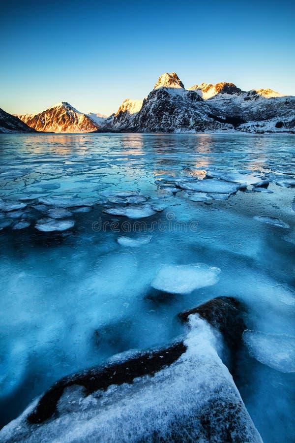 Blue Frozen lake royalty free stock photos