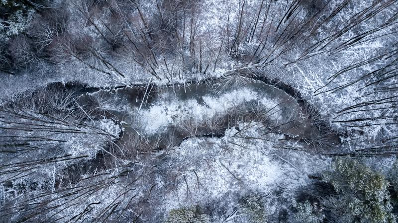 Frozen lake in the winter forest. Aerial photography with quadcopter stock photo