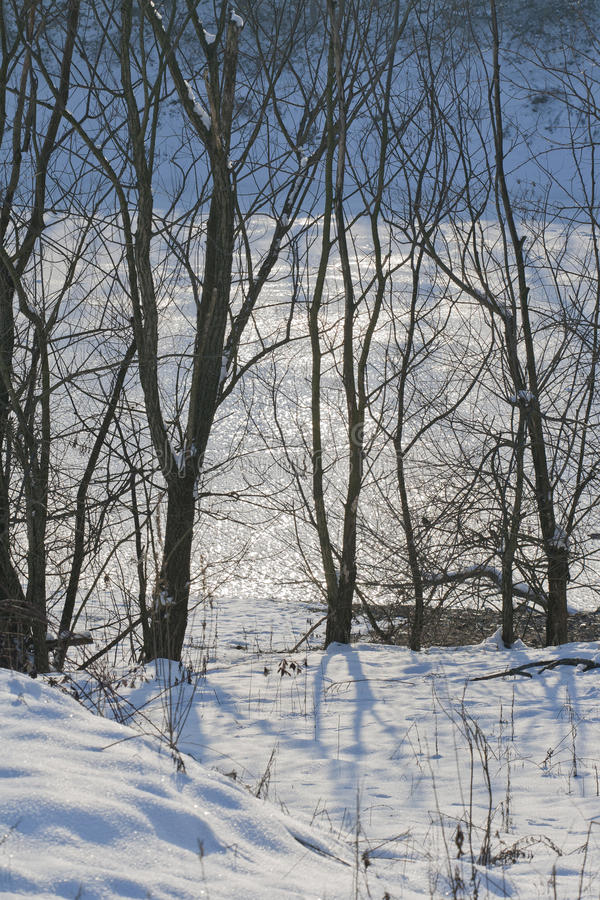 Frozen lake in winter time