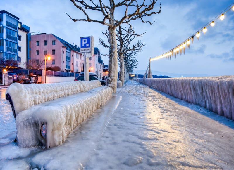 Download Frozen Lakefront Bench stock photo. Image of blue, geneva - 23224572