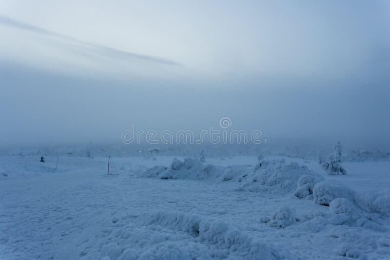 Frozen landscape during polar night. In Saariselka, Finland royalty free stock photography