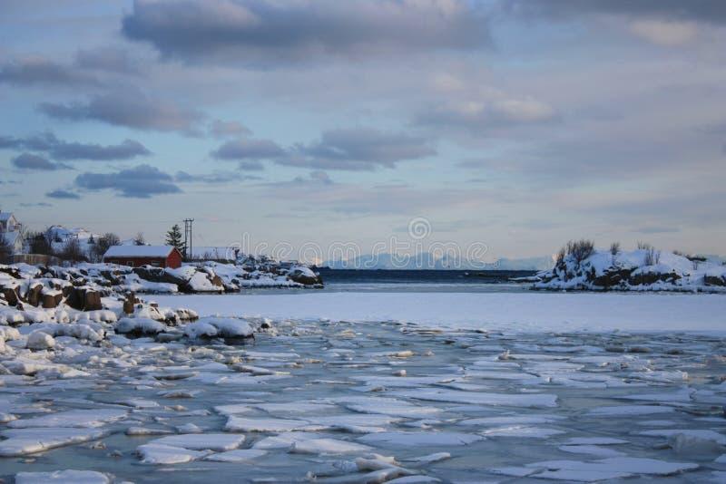 Frozen Lofoten's landscape. Icy sea near the Lofoten's village of Ballstad royalty free stock photo