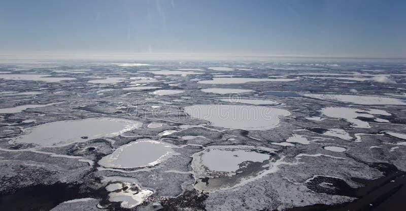 Frozen Mackenzie River Delta, NWT, Canada stock photos