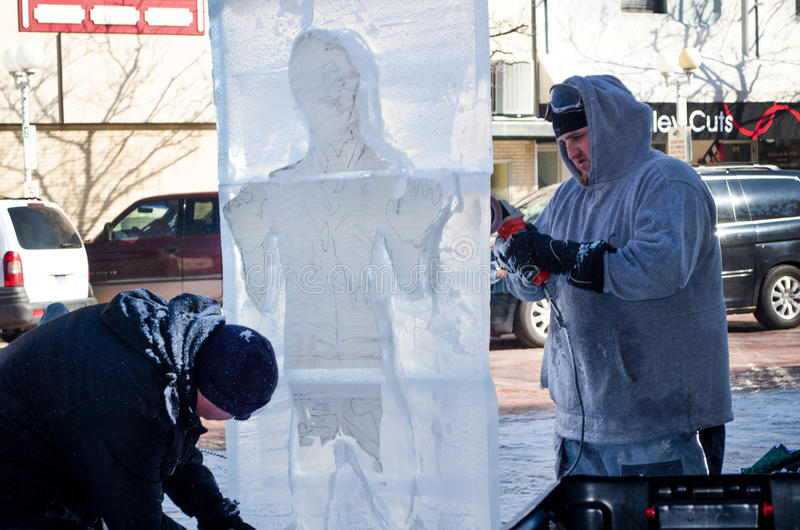 Frozen man in ice stock photo