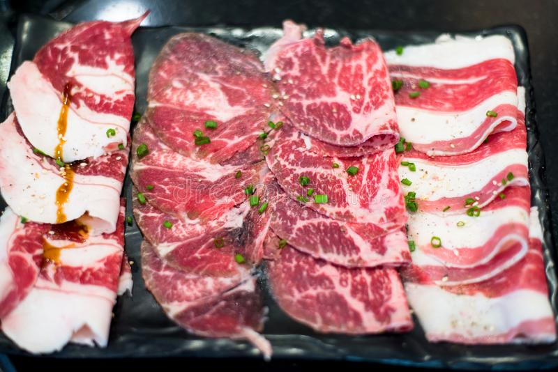 Frozen meat or beef for consume in the foam tray,Raw material texture. Frozen meat or beef for consume in the foam tray,Raws material texture royalty free stock photography