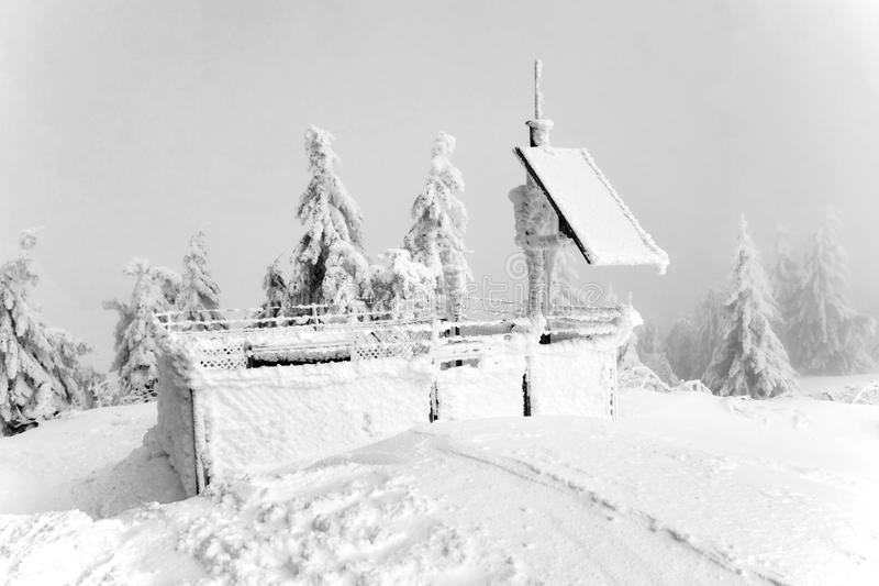 Frozen Meteo Station. In winter covered by ice frost stock photos