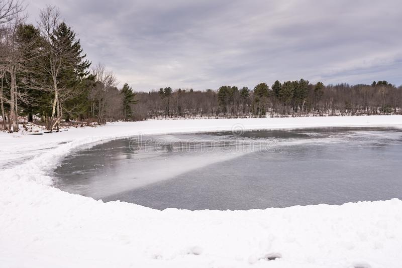 Frozen Mill Pond - Grafton, New York stock images