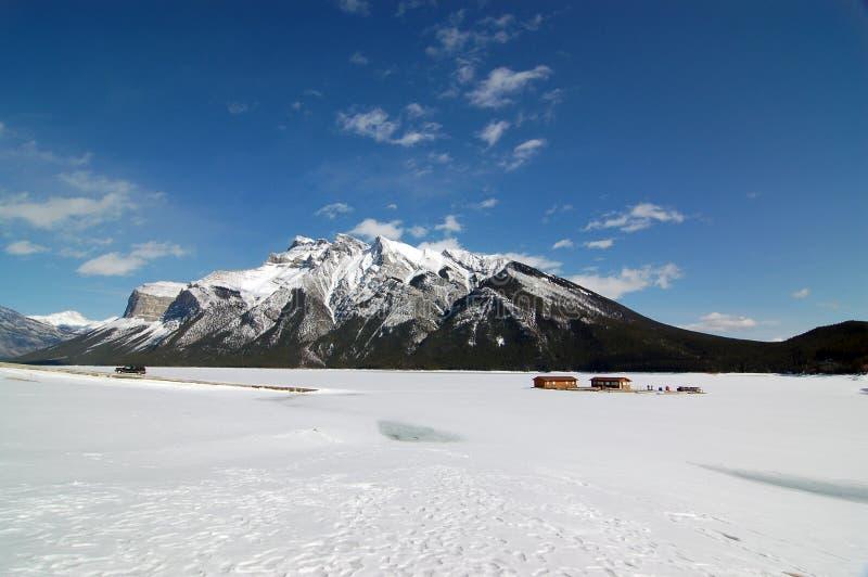 Frozen Minnewanka Lake of Banff National Park. One fine day at frozen Minnewanka Lake in early spring stock photography
