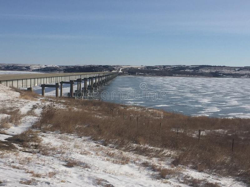 Frozen Missouri river royalty free stock photography
