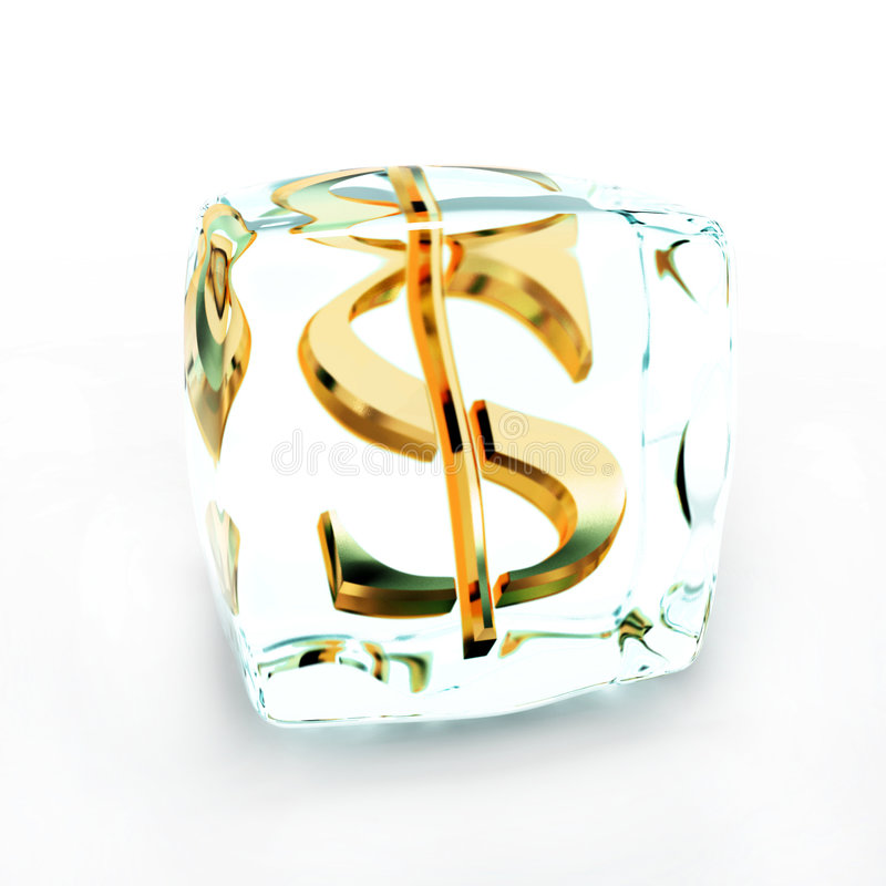 Frozen money symbol on white royalty free stock photo