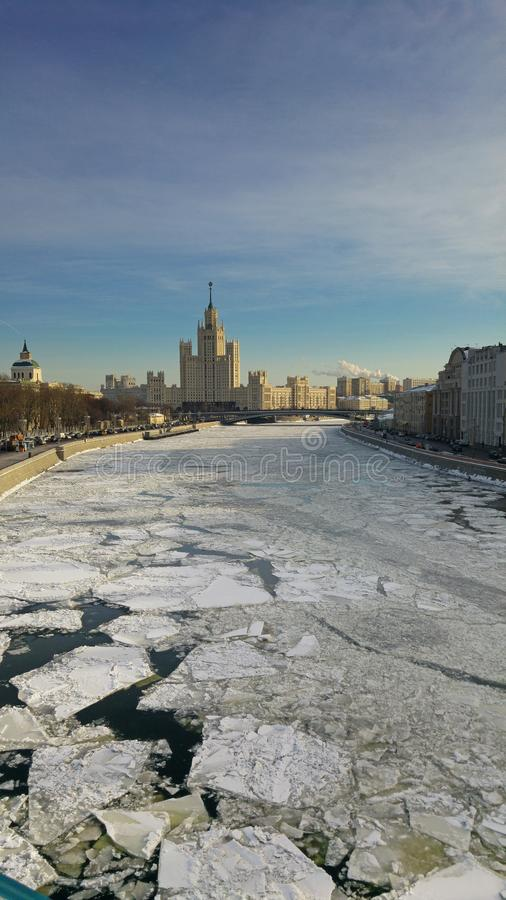 Frozen Moscow River with the view of the Kotelnicheskaya Embankment Building. From the Zaryadye Park royalty free stock photo