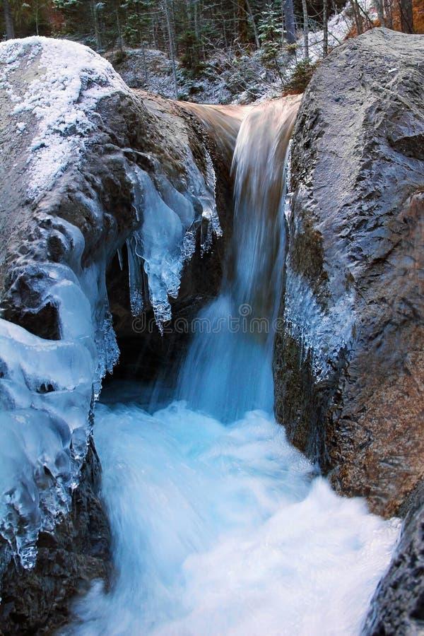 Frozen mountain torrent, winter wonderland germany. Frozen mountain torrent, winter wonderland in bavaria, germany stock photo