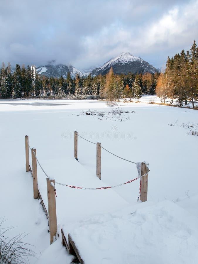 Frozen Nove Strbske Pleso, High Tatras royalty free stock photo
