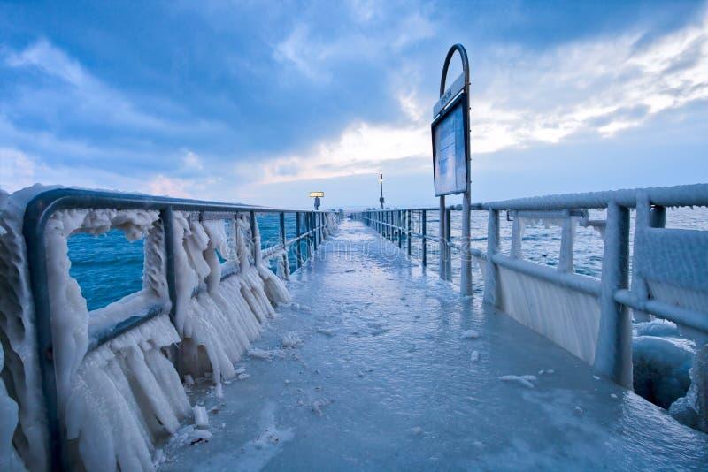 Download Frozen Pier II editorial photography. Image of horizon - 23224602