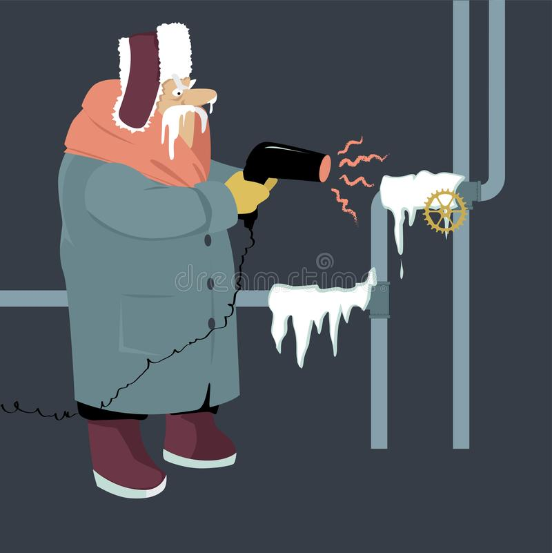 Frozen pipes in the house. Senior man attempting to thaw frozen pipes with a blow dryer, EPS 8 vector illustration royalty free illustration