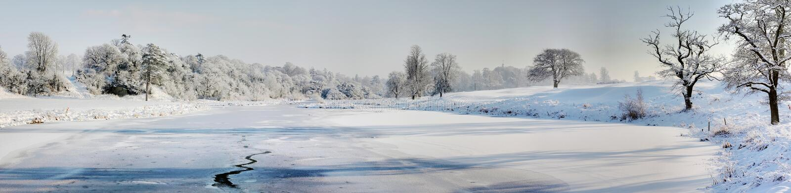 Frozen pond royalty free stock image